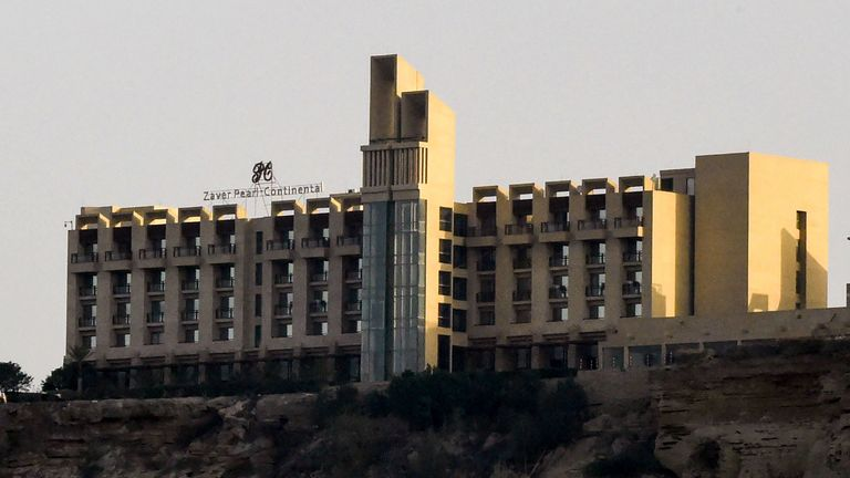The five-star Zaver Pearl Continental hotel known as the Pearl Continental, located on a hill in the southwestern Pakistani city of Gwadar, where gunmen stormed the building