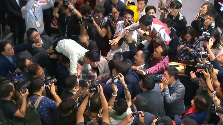Brawl in Hong Kong Parliament