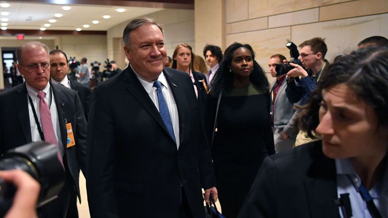 US Secretary of State Mike Pompeo arrives for a closed-door briefing on Iran in the auditorium of the Capitol Visitors Center in Washington, DC, on May 21, 2019