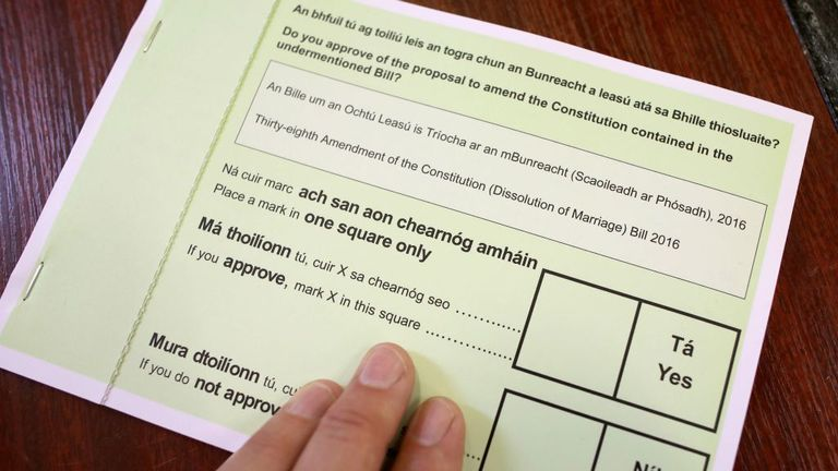 A voter's ballot paper to be used in Ireland's 2019 referendum on changing the current Dissolution of Marriage bill (divorce bill), is pictured at a polling station in Dublin on May 24, 2019, as voting continues in the European Elections, and in Ireland's Local Elections and the Divorce Referendum, all being held concurrently.