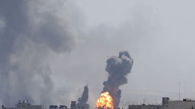 A ball of fire is seen during Israeli air strikes in Gaza on Saturday
