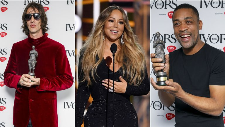 Richard Ashcroft (left), Mariah Carey (centre) and Wiley (right) all picked up gongs at the Ivors ceremony