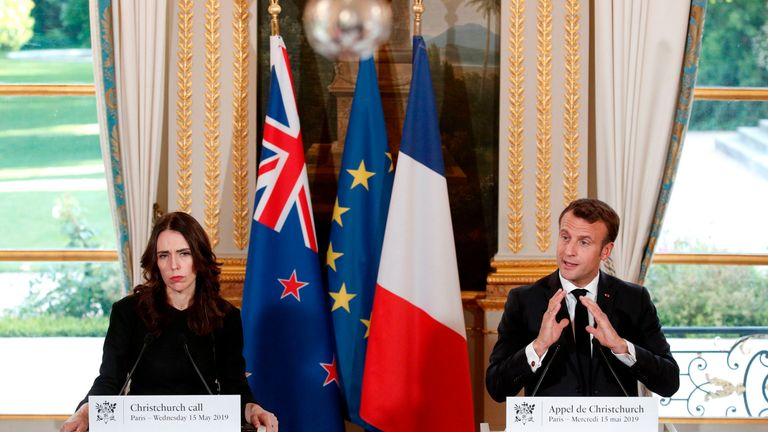 Jacinda Ardern and Emmanuel Macron meet in Paris