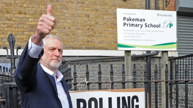 Labour leader Jeremy Corbyn after voting in the European Parliament elections
