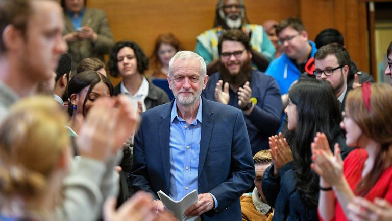Jeremy Corbyn was applauded as he arrived at the conference in Birmingham