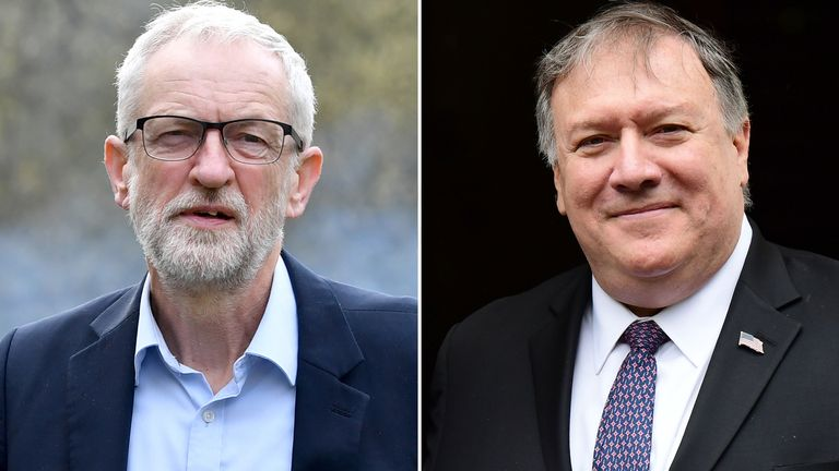 Jeremy Corbyn and Mike Pompeo