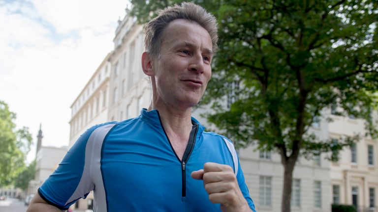 Jeremy Hunt jogging near the foreign secretary's residence in London