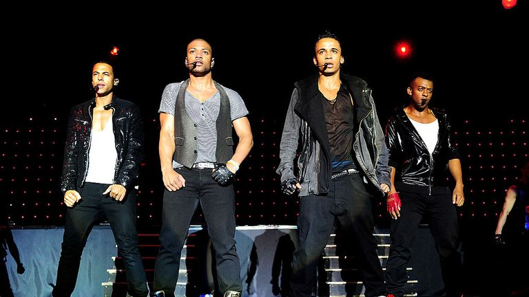 DOUGLAS, ISLE OF MAN - JUNE 18: (L-R) Marvin Humes, Jonathan JB Gill, Aston Merrygold and Oritse Williams of JLS perform at the Isle Of Man Bay Festival on June 18, 2010 in Douglas, Isle Of Man. (Photo by Gareth Cattermole/Getty Images)