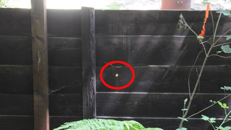 "A spyhole believed to have been scratched by a suspected hitman in the garden fence of notorious criminal John ""Goldfinger"" Palmer"