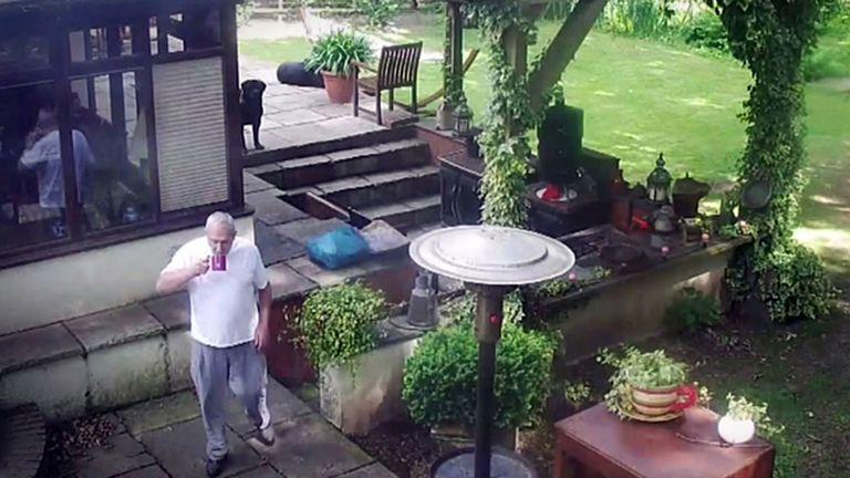 CCTV footage from the home of John Palmer shows his final hours before being shot in his garden