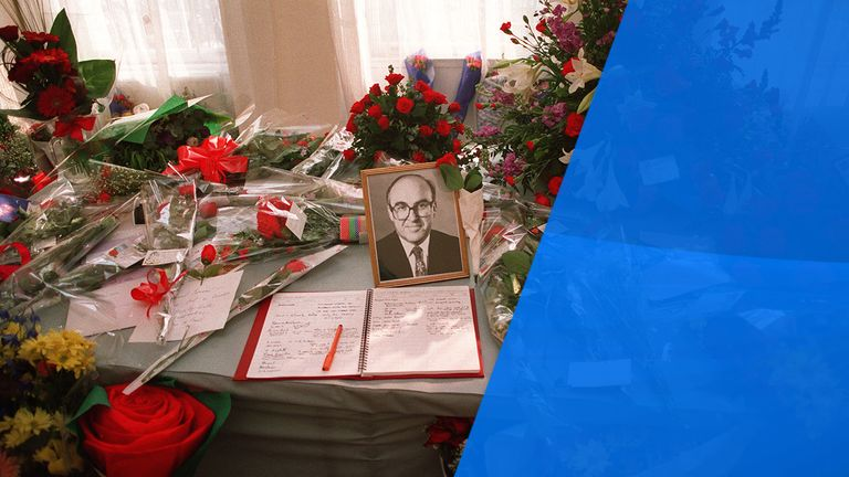 PA NEWS PHOTO 13/5/94 A PORTRAIT OF LABOUR LEADER JOHN SMITH WHO DIED OF A HEART ATTACK ON MAY 12TH SURROUNDED BY FLORAL TRIBUTES AND A BOOK OF CONDOLENCES AT THE LABOUR PARTY HEADQUARTERS IN LONDON Read less