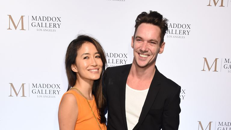 Actor Jonathan Rhys Meyers and his wife Mara Lane were also aboard the private plane with Mr David