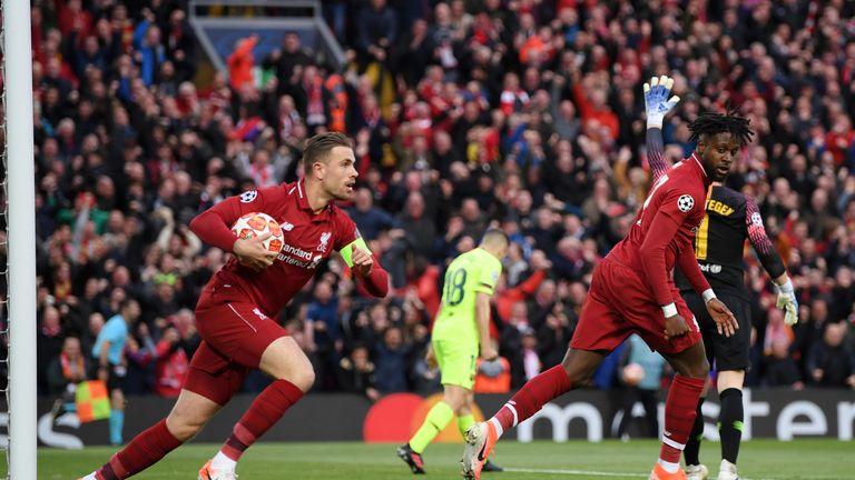 Captain Jordan Henderson retrieves the ball after Origi began the unlikely comeback