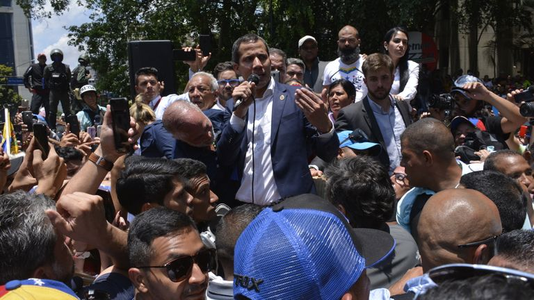 Juan Guaido addresses his supporters on Tuesday