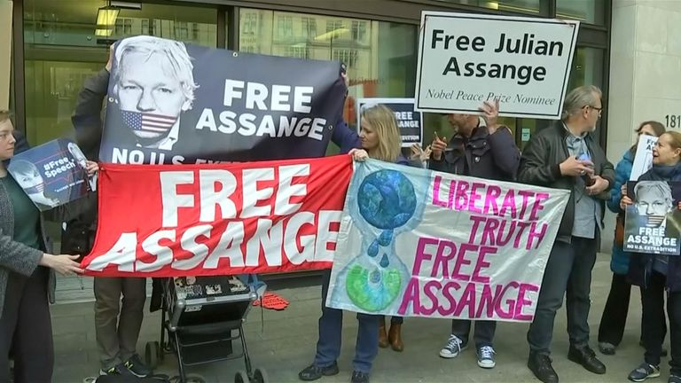 Assange supporters gathered outside Westminster Magistrates' Court