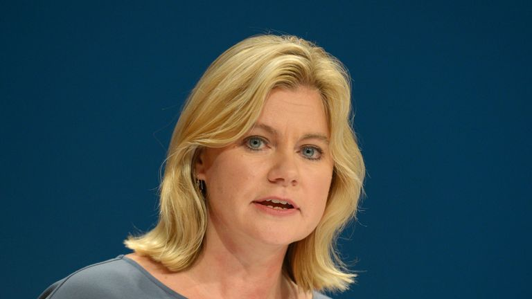 Education Secretary Justine Greening delivers her speech on the third day of the Conservative party conference at the ICC in Birmingham.