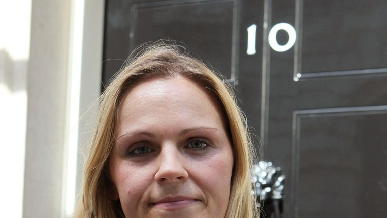 Karine Atay outside 10 Downing Street where she handed in a petition raising awareness of Neuroblastoma, a condition which her daughter Sophie died from recently