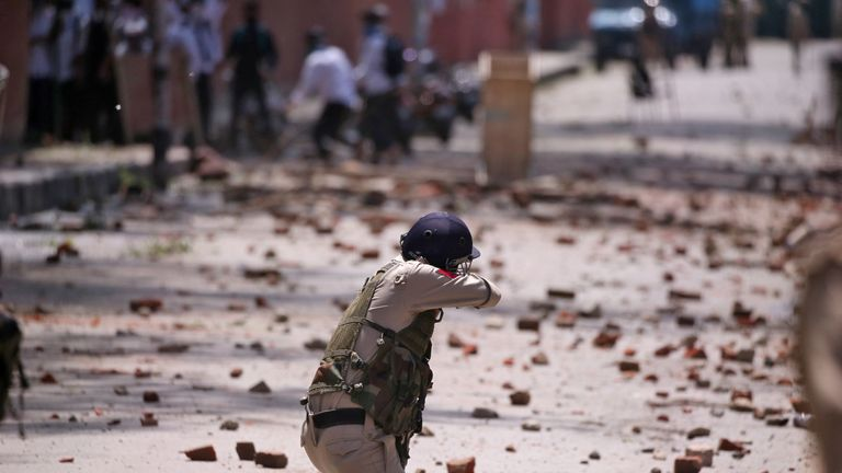 Clashes have taken place on the streets of Kashmir