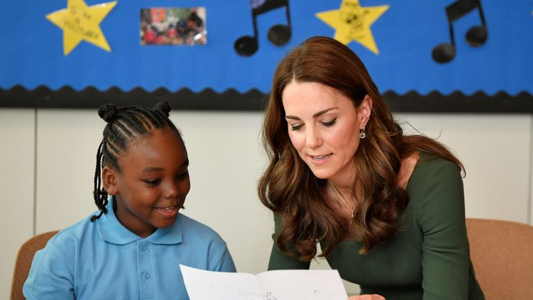 The Duchess of Cambridge visits the Anna Freud National Centre for Children and Families in London on May 1, 2019