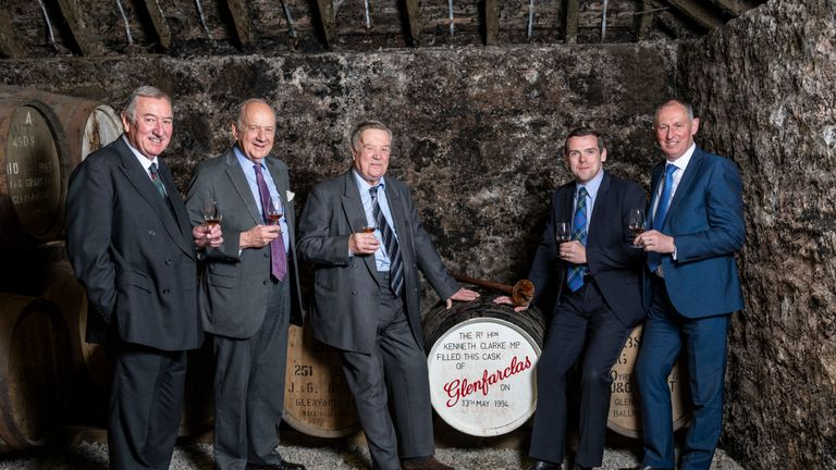 Ken Clarke at a whiskey distillery in 1994, where he instructed the barrel not be opened until Moray elected a Tory MP - in 2017