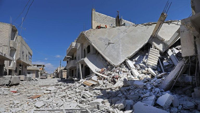 A picture taken on May 10, 2019 shows a building destroyed by reported shelling by government forces on the town of Khan Sheikhun in the southern countryside of the rebel-held Idlib province