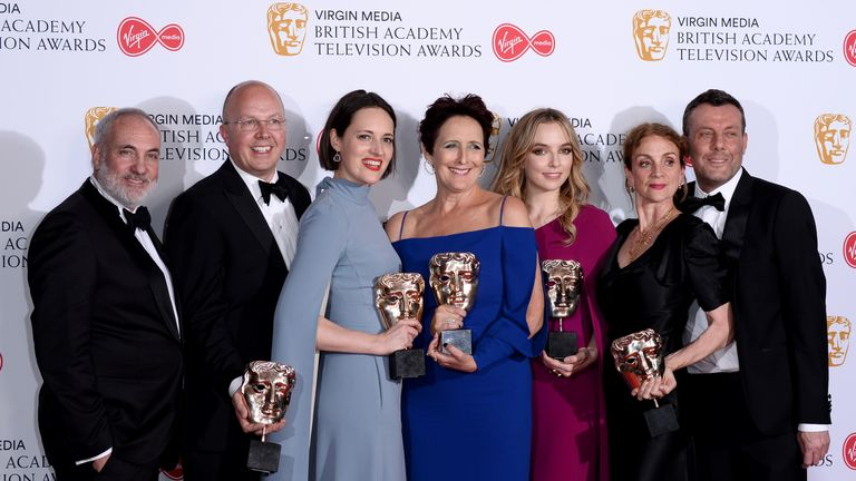 (L-R) Killing Eve's Kim Bodnia, Colin Wratten, Phoebe Waller-Bridge, Fiona Shaw, Jodie Comer, Sally Woodward Gentle and Lee Morris