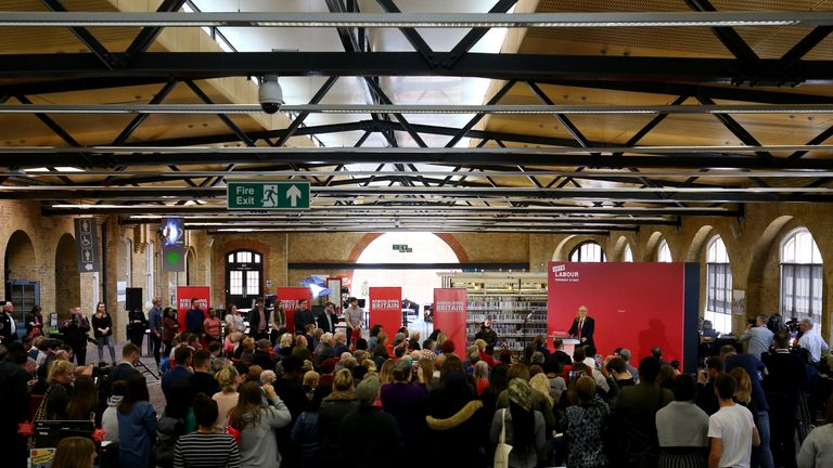Labour Party leader Jeremy Corbyn launches his party's European election campaign at the Drill Hall Library at the University of Kent in Chatham