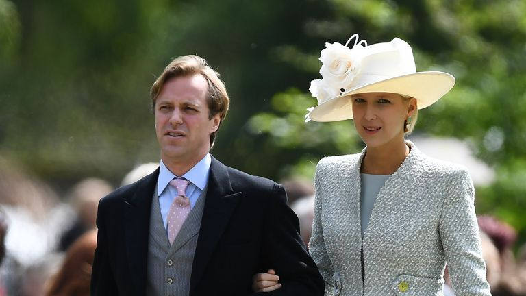 Thomas Kingston and Lady Gabriella Windsor attend the wedding of Pippa Middleton and James Matthews