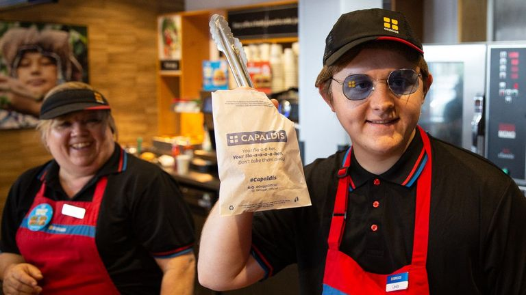 Handout photo issued by Greggs of Scottish singer-songwriter Lewis Capaldi who thrilled music fans by going undercover to serve in a Greggs bakers on Stokesley Road in Middlesbrough ahead of his performance at Radio 1's Big Weekend in Middlesbrough. PRESS ASSOCIATION Photo. Issue date: Saturday May 25, 2019. Capaldi wore the full Greggs uniform, including hairnet, while claiming to be on work experience and served up breakfasts, coffees, sandwiches and bakes. See PA story SHOWBIZ Capaldi. Photo