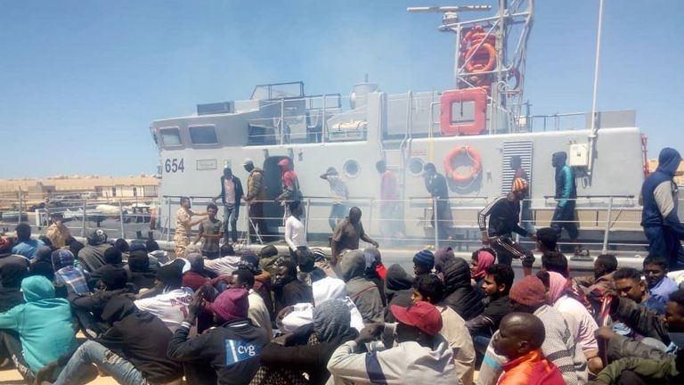 200 migrants are returned to Libyan shores while armed clashes intensify in the capital #Tripoli. Pic: IOM Libya