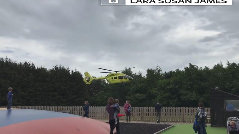 Yorkshire Air Ambulance was called to the park, near Ripon in North Yorkshire.