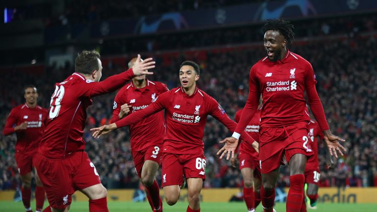 Divock Origi celebrates as he scores Liverpool's fourth goal to send them to the final