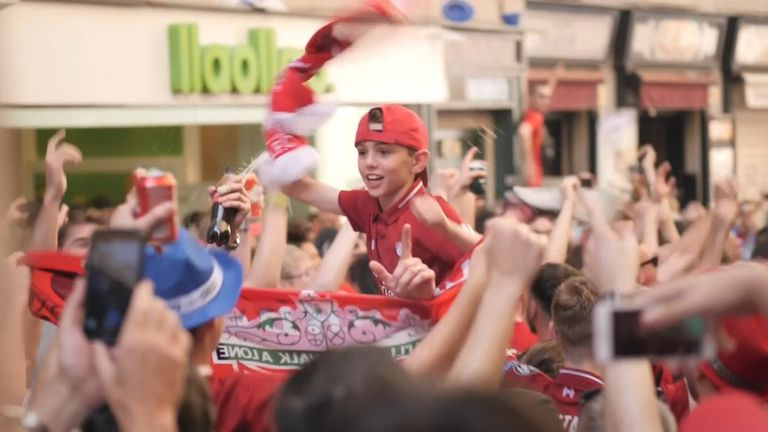 Tottenham and Liverpool fans have got the party started ahead of the Champions League final.