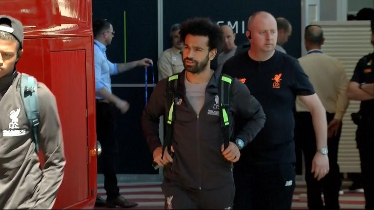 The Liverpool team including Mo Salah have arrived in Madrid ahead of the Champions League final against Tottenham.