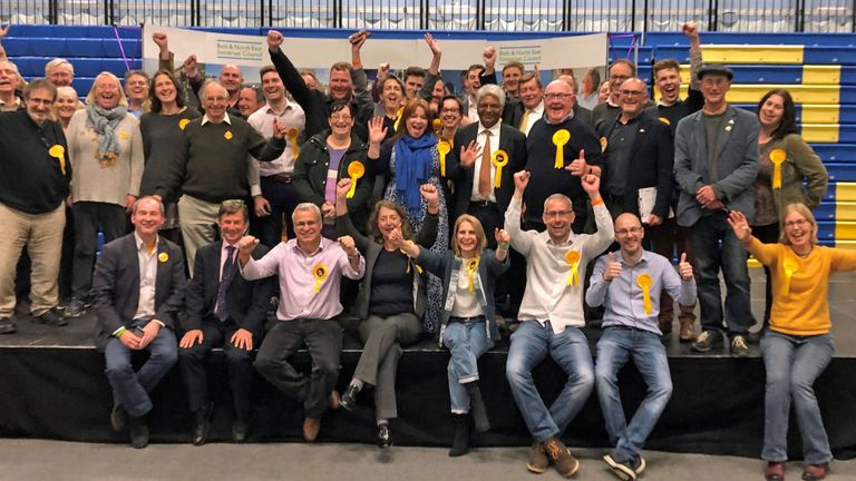 The Liberal Democrats celebrate winning control of Bath and North East Somerset Council from the Conservatives