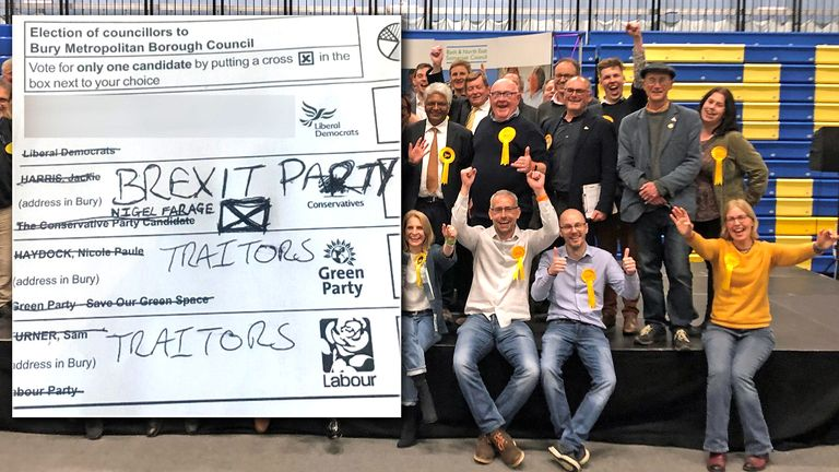 Images have been shared on social media of ballot papers spoiled in protest at the delay to Brexit