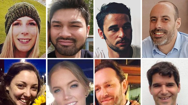 Christine Archibald, 30, James McMullan, 32, Alexandre Pigeard, 26, Sebastien Belanger, 36, Kirsty Boden, 28, Sara Zelenak, 21, Xavier Thomas, 45, and Ignacio Echeverria, 39.