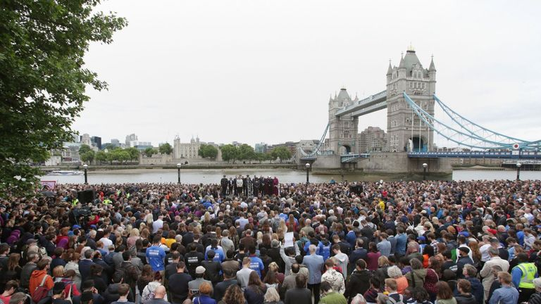 Londoners gathered across the city after the attack