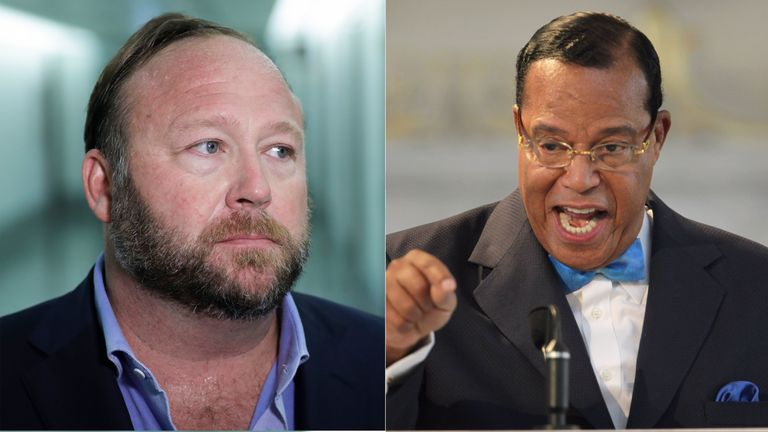 Alex Jones and Louis Farrakhan have been banned from Facebook and Instagram