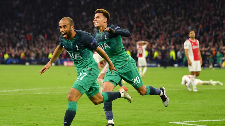 Lucas Moura of Tottenham Hotspur celebrates after scoring his team's third goal with Dele Alli of Tottenham Hotspur during the UEFA Champions League Semi Final second leg match between Ajax and Tottenham Hotspur at the Johan Cruyff Arena on May 08, 2019 in Amsterdam, Netherlands
