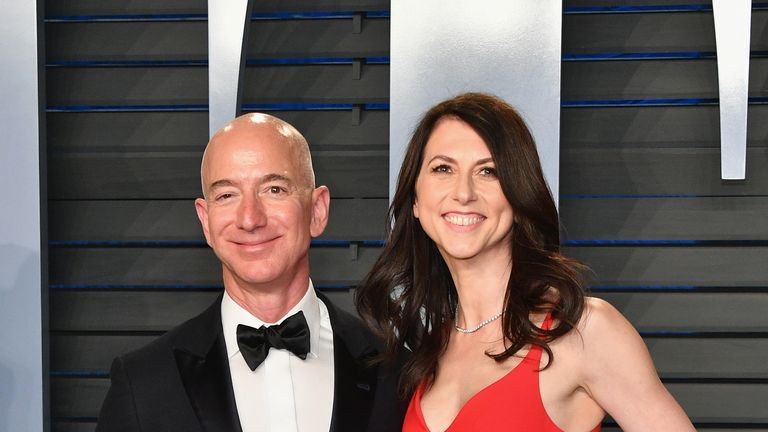 Jeff and MacKenzie Bezos pictured at the 2018 Vanity Fair Oscar Party in California
