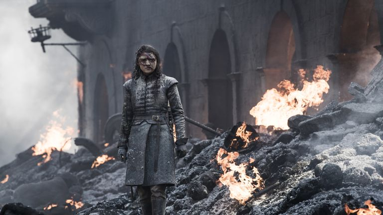 Maisie Williams as Arya Stark in Game Of Thrones. Pic: HBO/Sky Atlantic
