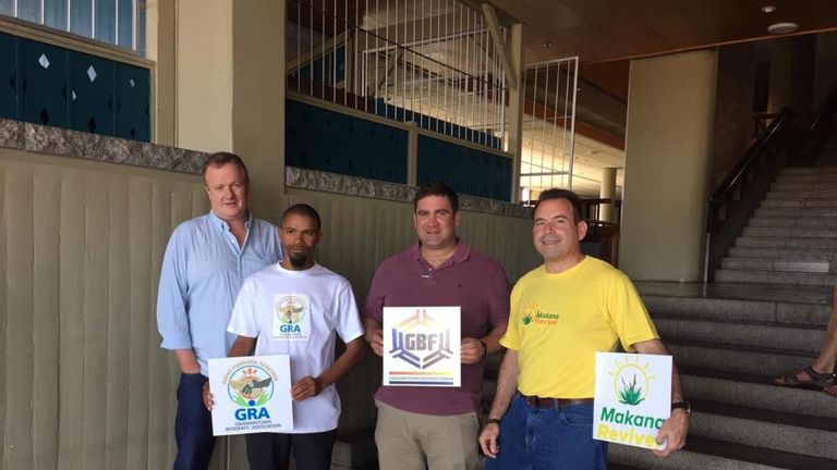 Tony Lankester (on behalf of the Grahamstown Foundation), Richard Alexander, Richard Gaybba, Ron Weissenberg, who work with Makhana Revive