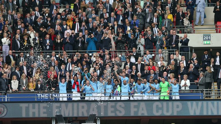 Man City lift the trophy at Wembley