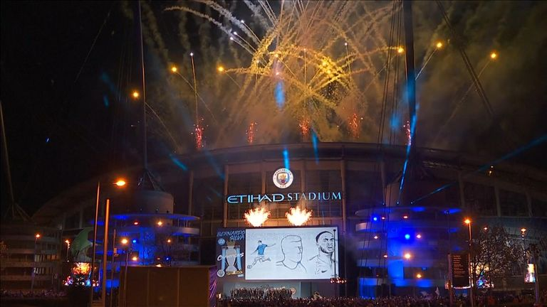Fireworks streamed from the Etihad Stadium after City's title success
