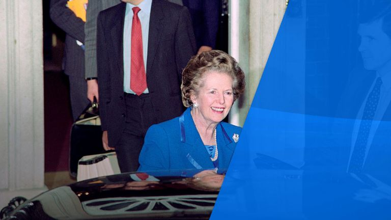 Margaret Thatcher leaves 10 Downing Street after resigning in November 1990