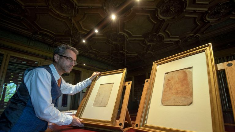 Martin Clayton the recently confirmed sketch of da Vinici, left, and the work of Francesco Melzi, right