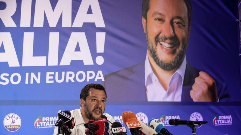 Matteo Salvini attends a news conference following the European Parliament election results
