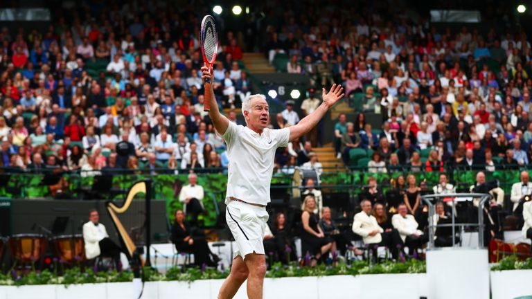 John McEnroe couldn't resist entertaining the crowds with his usual style