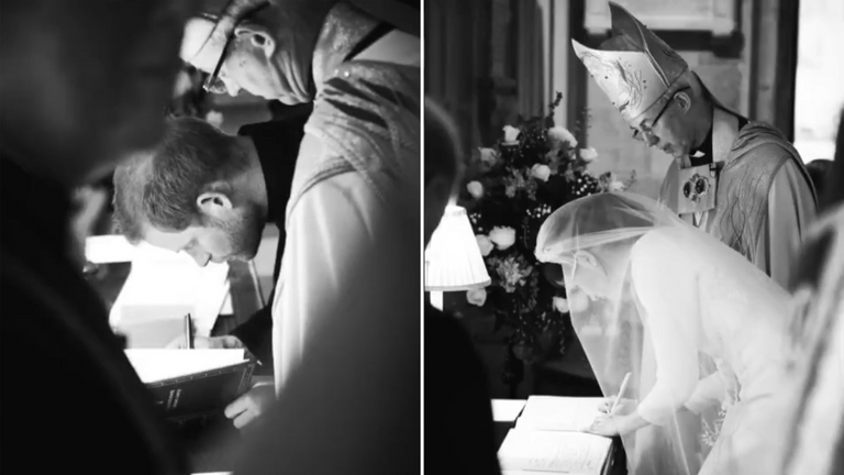The Duke and Duchess of Sussex sign the wedding register. Pic: Chris Allerton/ @SussexRoyal